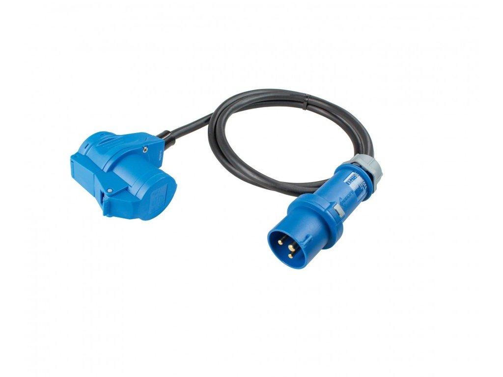 Adaptérový kabel s CEE zástrčkou a úhlovou CEE zásuvkou