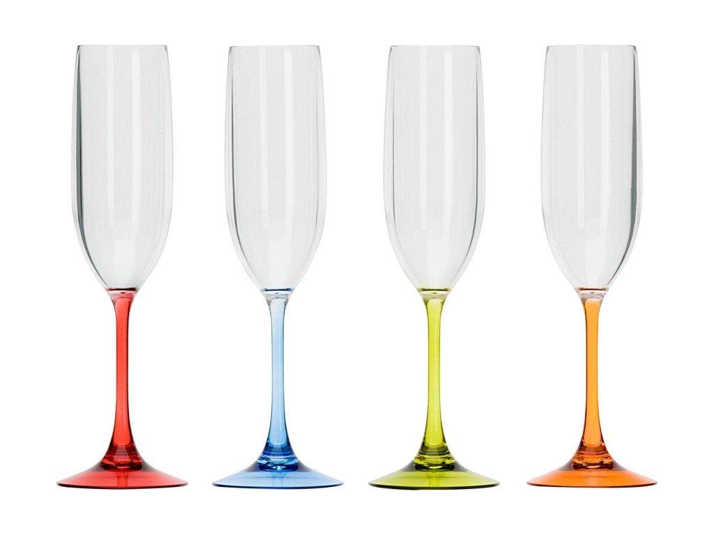 Sada barevných skleniček na sekt, 4 ks