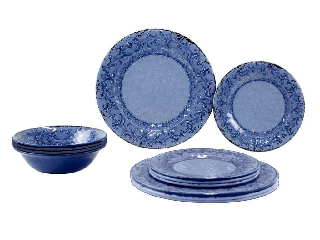 Gimex 12-dílná sada melaminového nádobí Stone Line Azure