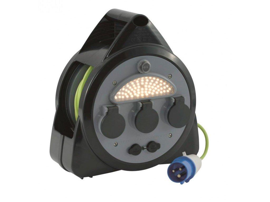 Outwell kabelová cívka s USB zásuvkou a LED osvětlením