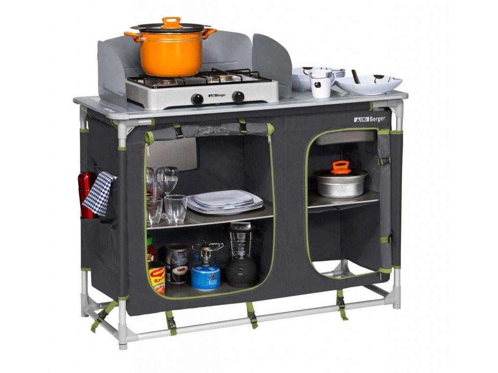 Berger campingová kuchyně se dřezem - šedá