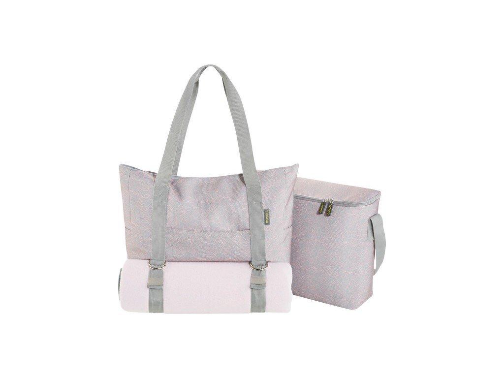 Meori šedá sada 3v1 - taška, pikniková deka & chladicí taška