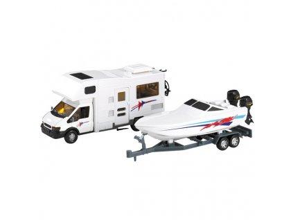 Model obytného automobilu s člunem