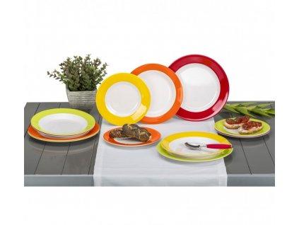 12-dílná sada melaminových talířů Rainbow