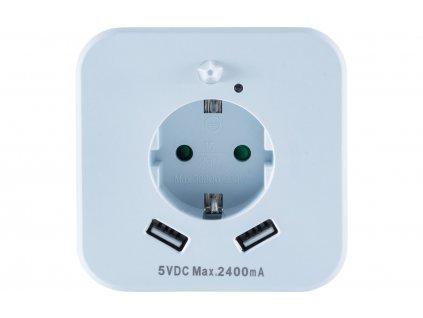 InnTec zásuvka s LED nočním světlem s pohybovým senzorem a USB zásuvkami