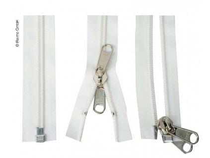 Bílý stanový zip s dvojitým jezdcem - 175 cm