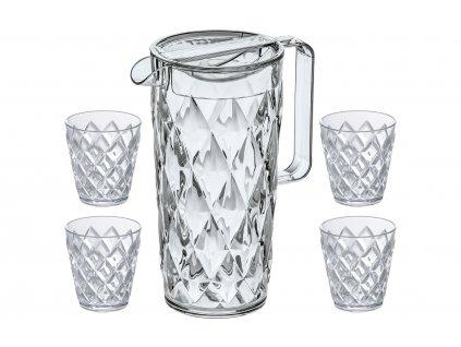 Koziol Crystal džbán 1,6 l včetně 4 pohárů