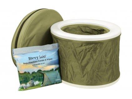 Přenosná kempingová toaleta Bivvy Loo včetně přenosné tašky - zelená