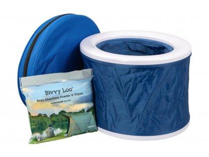Přenosná kempingová toaleta Bivvy Loo včetně přenosné tašky - modrá