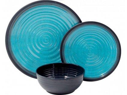 12-dílná sada melaminového nádobí Aqua