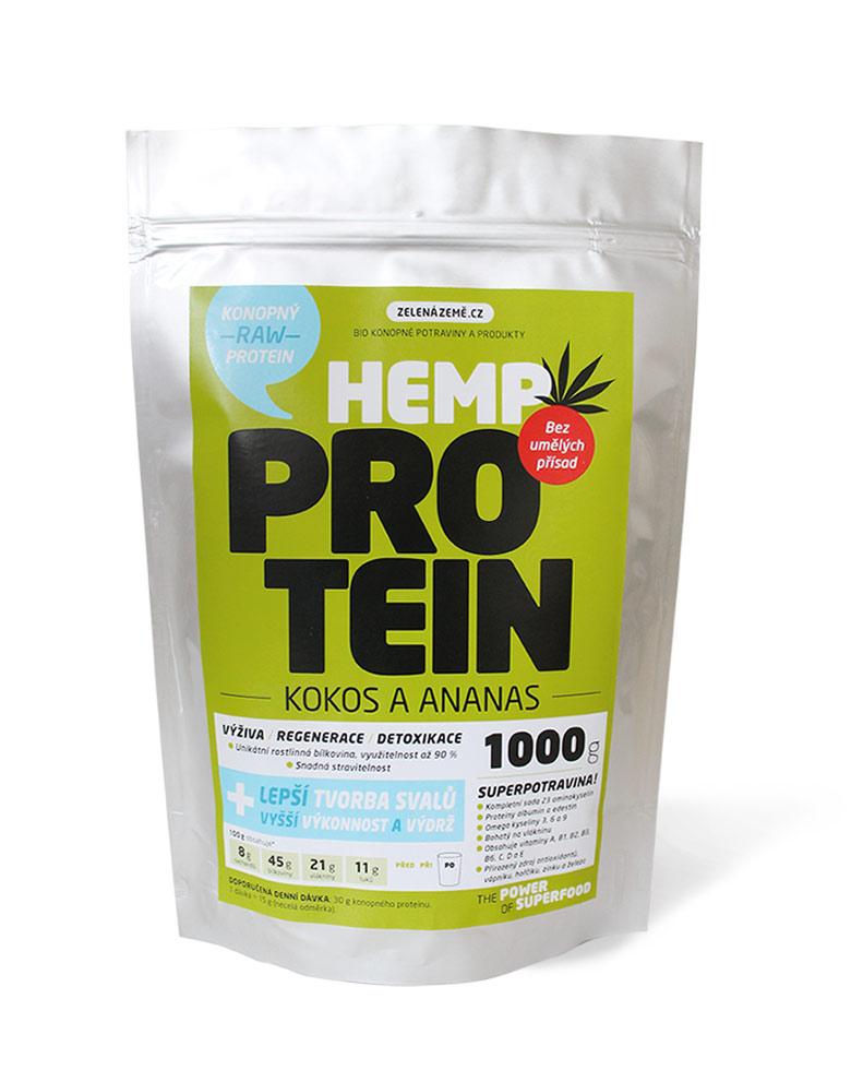 Konopný protein - kokos s ananasem obsah: 500g
