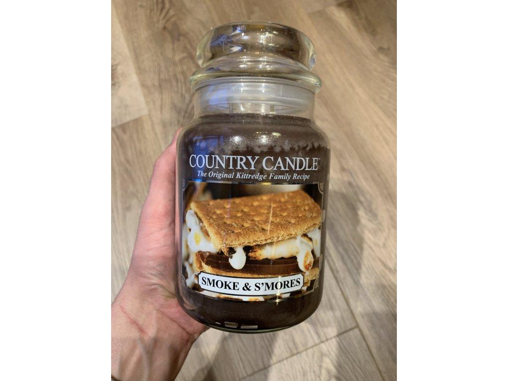 Country Candle - vonná svíčka SMOKE AND S'MORES (Sušenky s čokoládou a marshmallows) 652 g