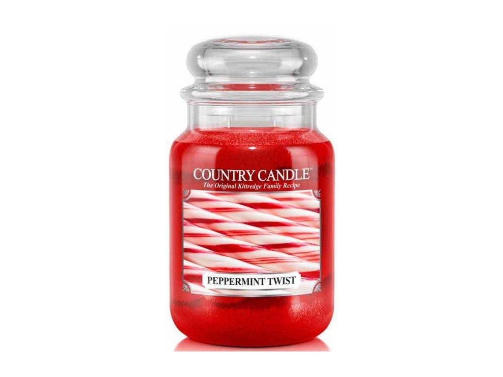 Country Candle - vonná svíčka PEPPERMINT TWIST (Mátová cukrová hůlka) 652 g