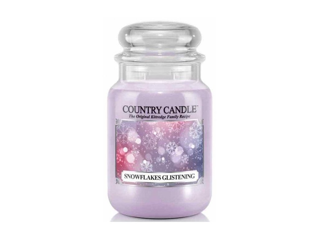 Country Candle - vonná svíčka SNOWFLAKES GLISTENING (Lesklé sněhové vločky) 652 g