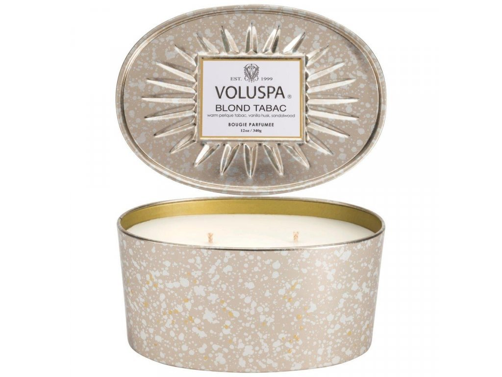 29891 1 voluspa vermeil blond tabac 2 wick candle in decorative oval tin