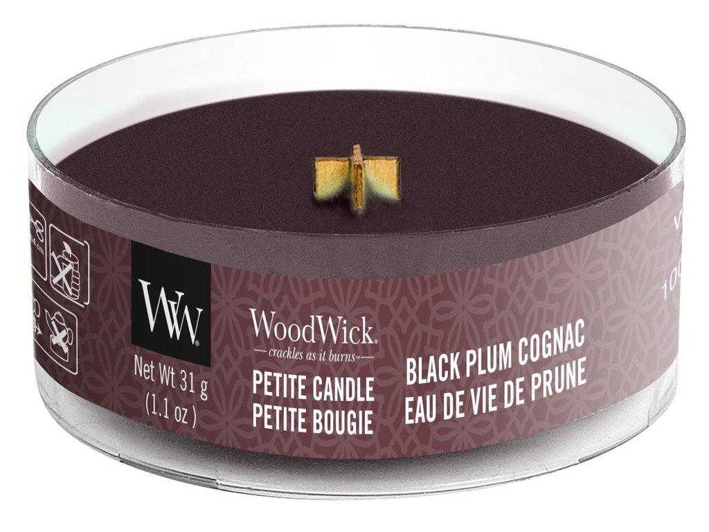 WoodWick - vonná svíčka BLACK PLUM COGNAC (Koňak z černých švestek) 31 g