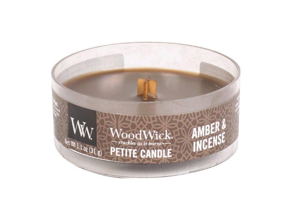 WoodWick - vonná svíčka AMBER & INCENSE (Ambra a pryskyřice) 31 g