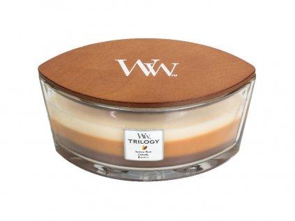 WoodWick - vonná svíčka Trilogy CAFÉ SWEETS (Sladkosti ke kávě) 453,6 g