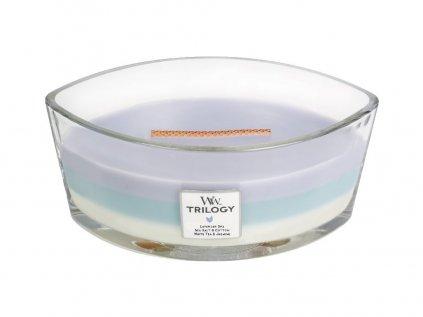 WoodWick - vonná svíčka Trilogy CALMING RETREAT (Uklidňující ústraní) 453,6 g