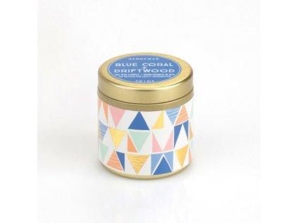 Paddywax - vonná svíčka Kaleidoscope BLUE CORAL + DRIFTWOOD 85 g