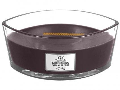 WoodWick Black Plum Cognac svíčka loď