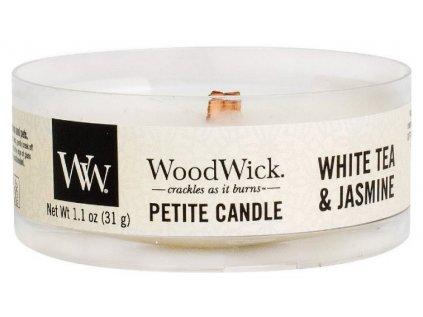 WoodWick - vonná svíčka WHITE TEA & JASMINE (Bílý čaj a jasmín) 31 g