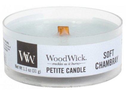 WoodWick - vonná svíčka SOFT CHAMBRAY (Jemná chambray) 31 g