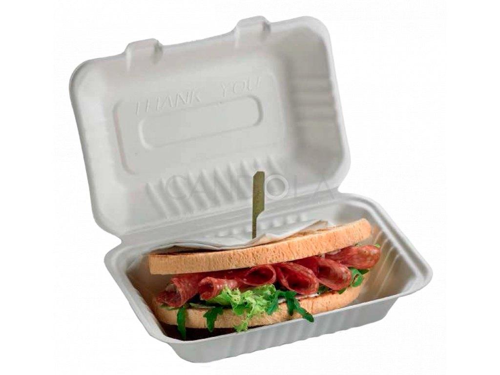 Q2023 Leone bio cellulose pulp sandwich box jednorazovy box sendvic 1