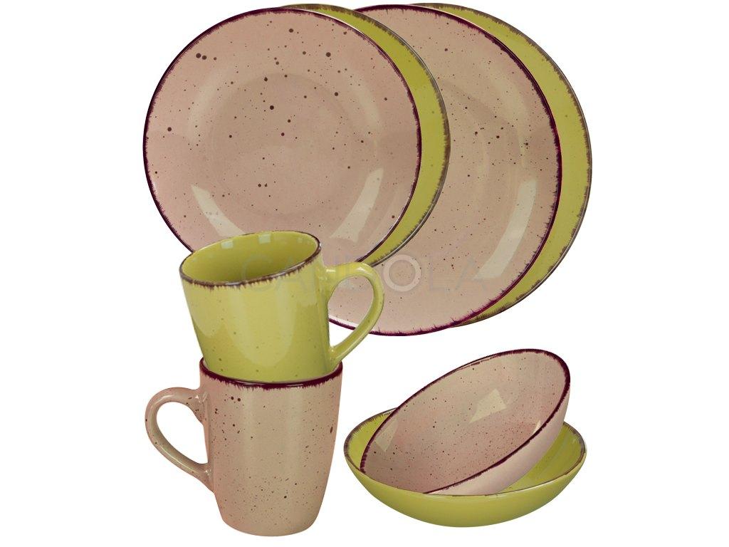 2562 jidelni souprava 16 dilu pottery stone a zelena