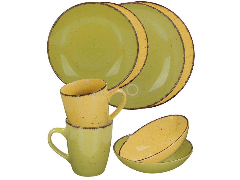 2580 jidelni souprava 16 dilu pottery zelena a zluta
