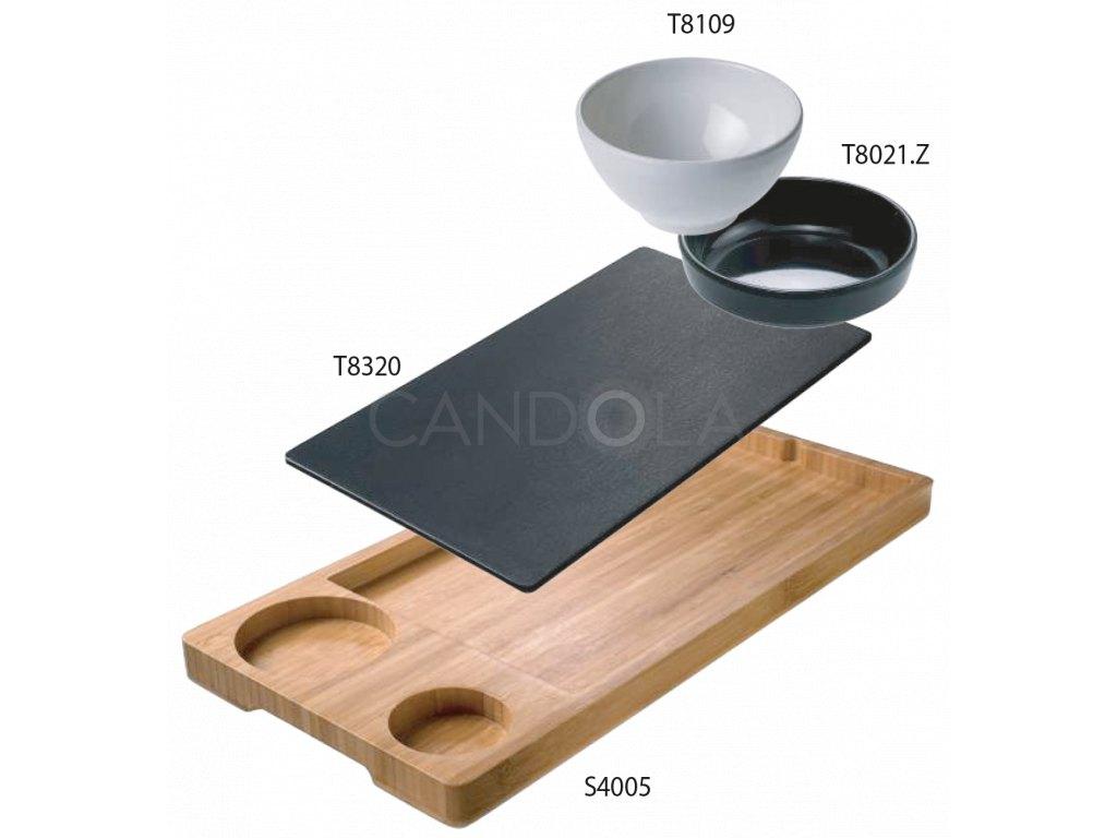 S1005 Leone bamboo tray hamburger set bambusovy podnos servirovaci sada 1