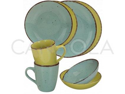2550 1 jidelni souprava 16 dilu pottery modra a zelena