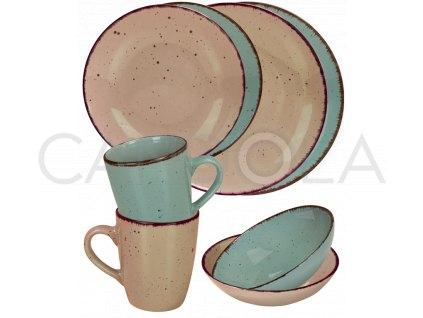 2556 jidelni souprava 16 dilu pottery stone a modra