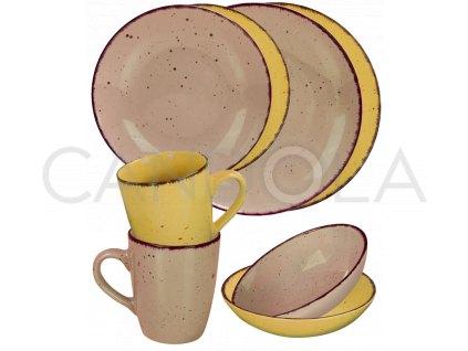2565 1 jidelni souprava 16 dilu pottery stone a zluta