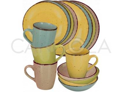 2568 1 jidelni souprava 16 dilu pottery ctyri barvy