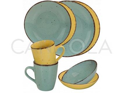 2574 jidelni souprava 16 dilu pottery modra a zluta