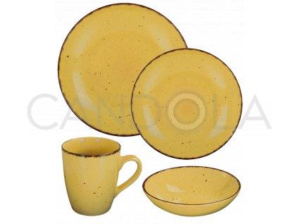 2577 1 jidelni souprava 16 dilu pottery zluta