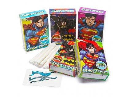 130978 01 batman and superman candy sticks packs 30 piece box