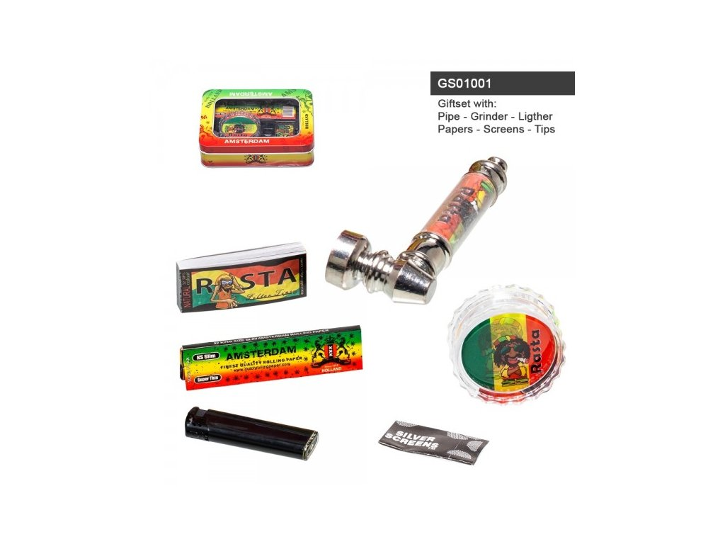 Amsterdam Rasta Leaf giftset with pipe, grinder, lighter, papers, screens and tips