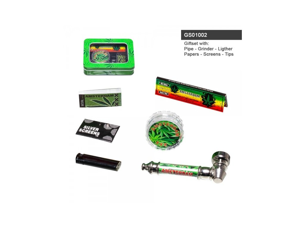 Amsterdam XXX Leaf giftset with pipe, grinder, lighter, papers, screens and tips