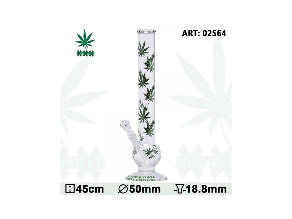 Green XXX Amsterdam Leaf Glass Bong- Ø:50mm - H:45cm- Socket:18.8mm