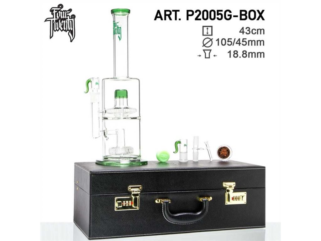 Scientific Bong- Green- H:43cm - Ø:105/45mm- SG:18.8mm - luxury leather box