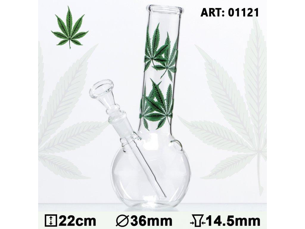 Multi Leaf Glass Bong- H:22cm - Ø:36mm - Socket:14.5mm