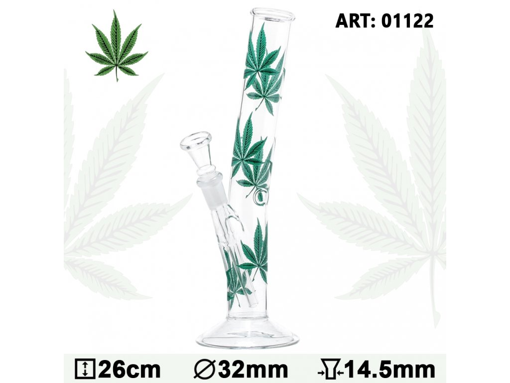 Multi Leaf Hangover Glass Bong-H:26cm-Ø:32mm-Socket:14.5mm