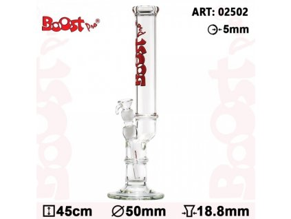 Boost Pro Bolt Bong - Red- H:45cm- Ø:50mm- Socket:18.8mm- WT:5mm (circa)