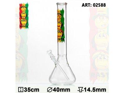 Rasta Smile Beaker Glass Bong- Ø:40mm- H:35cm- Socket:14.5mm