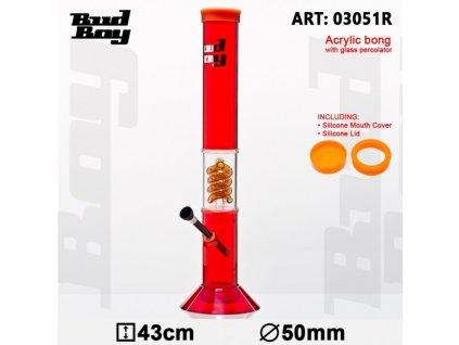 Cane Bud Boy Bong- Red- H:43cm- Ø:50mm -WT:3mm (circa)- Spiral Percolator