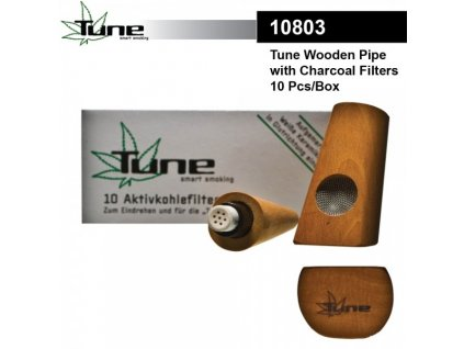 Tune In Wooden Pipe with Activ Charcoal Filter with 3 Filters