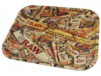 RAW METAL ROLLING TRAY - MIXED PRODUCTS H:27.5cm W:34cm