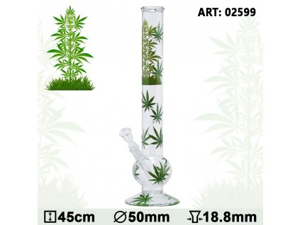 Leaf Jhari Bouncer Glass Bong- Ø:50mm- H:45cm- Socket:18.8mm